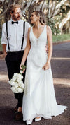 V-Neck Backless Lace Boho Chiffon Wedding Dresses ZW459