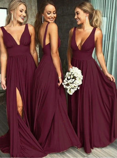 Burgundy Deep V-neck Backless Long Bridesmaid Dresses with Split