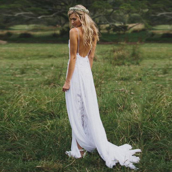 Beach Chiffon Backless Boho Wedding Gown Lace Bride Dress
