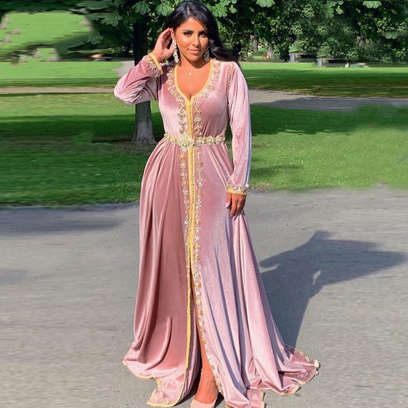 Pink Velvet Long A Line Arabic Lady Evening Dress TBE05