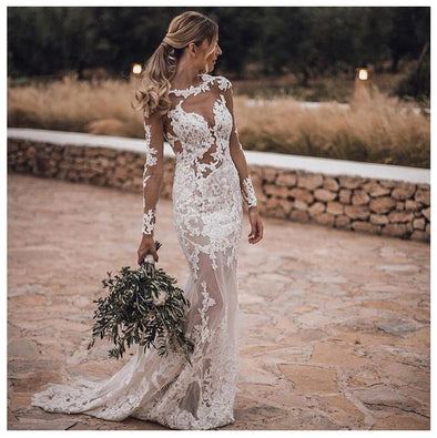 Mermaid Wedding Dresses Lace Boho Wedding Gowns Appliques Sheer illusion Lace Sexy Long Sleeves Bride Dress 2019