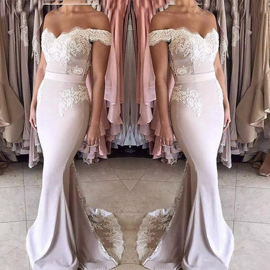 Mermaid Bridesmaid Dresses Long Off The Shoulder Appliques Long Wedding Party Dresses For Women