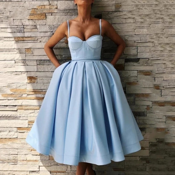 Elegant Blue Short Cocktail Dresses A-Line Homecoming Gown