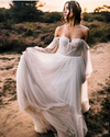 Elegant Flowy Tulle Wedding Dress Off the Shoulder Long Sleeve Boho Wedding Bridal Gowns TBW58