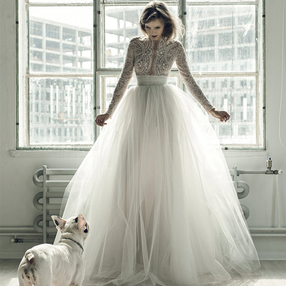 Long Sleeve Lace Ball Gown Tulle Luxury Beading Wedding Dress