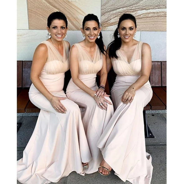 Elegant Mermaid Bridesmaid Dress 2021 V-Neck