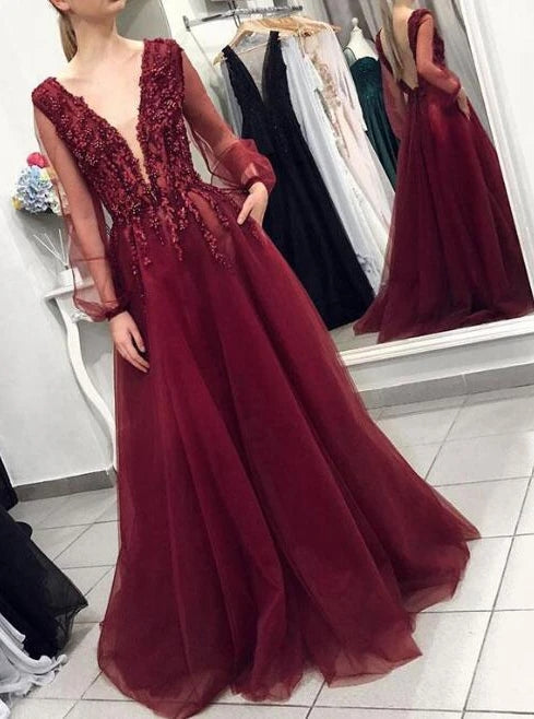 Deep V-neck Burgundy Backless Prom Dress With Long Puff Sleeves TB1367