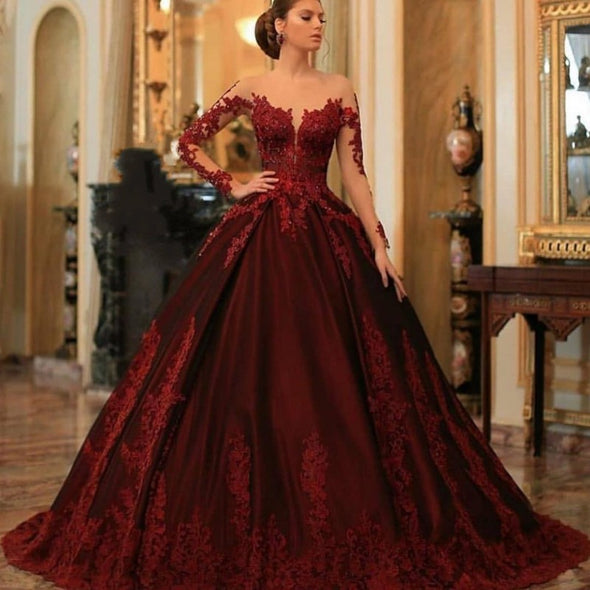 Burgundy Ball Gown Arabic Dubai Prom Dresses With Lace Appliques TBP02