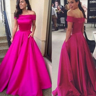 A-line Simple Satin Pocket Evening Dresses Off The Shoulder Prom Dress