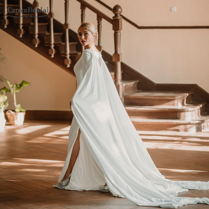 Fantasy Wedding Dress With Cape Soft Satin Simple Tradition Refined Br Tanya Bridal