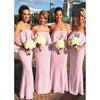 Pink Long Bridesmaid Dresses Strapless Simple Style
