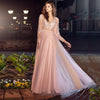 Fashion Sexy See Through Evening Dresses Long Sleeves Applique Pink Tulle A Line Prom Dresses vestido longo festa