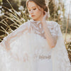 Feather Lace Long Capes Short front Long Back Elegant Wedding Wrap Romantic Bridal Shawl Capes DJ122