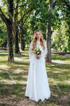 Flare Sleeve Chiffon Wedding Dresses Floor Length Country Wedding Gowns Long sleeve Bridal Dress Noivas Chic DW352
