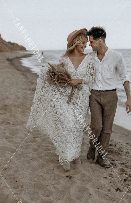 Flare Sleeve Lace Wedding Dresses Boho V-Neck Bridal Gowns A Line Fashion Robe de soriee Chic ZW335