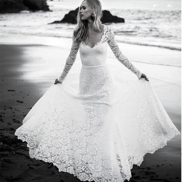 Full Lace Mermaid Long Sleeve Backless V Neck Summer Beach Bridal Gowns