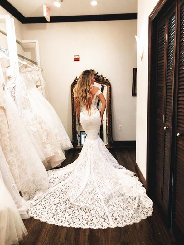 Full Lace Wedding Dresses Mermaid Long Trail Off Shoulder Illusion Back Bridal Gowns