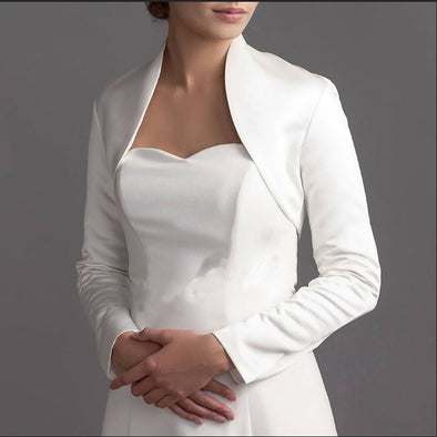 Full Long Sleeve wedding jacket satin Bride bolero jackets for Bridal