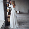 Full Sleeve short front Long Back Wedding Dresses Jewel Elegant Simple Soft Satin Bridal Gowns A Line Noivas DW095