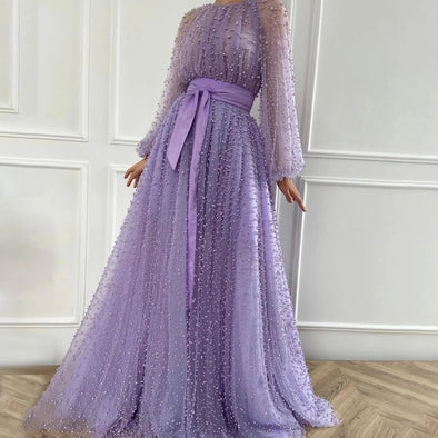 O-neck Long Sleeves Pearl Crystal Prom Dress with Sash