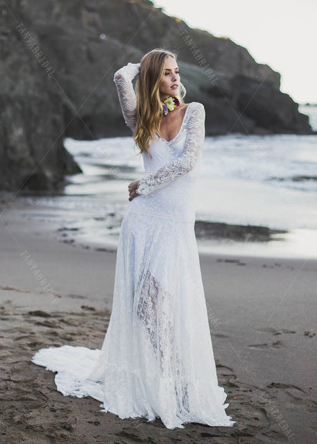 Geometric Patterned Stretch Lace Wedding Dresses