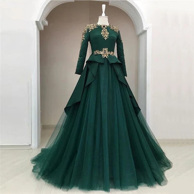 Green Muslim Evening Dresses 2020 A-line Long Sleeves