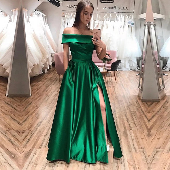 A Line Green Satin Evening Prom Dress With Slit TB21415