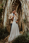 Bohemian V-Neck Summer Beach Bridal Gowns Romantic Engagement Noivas ZW401