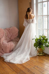 Bohemian Long Wedding Dresses Lovely Lace Points With Long lantern Sleeves Off Shoulder