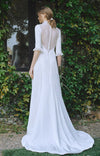 Half Sleeve High-Low Wedding Dresses Satin Korea Engagement Dresses ZW399