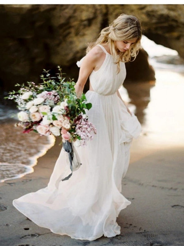 Summer A Line Chiffon Backless Beach Bridal Gown