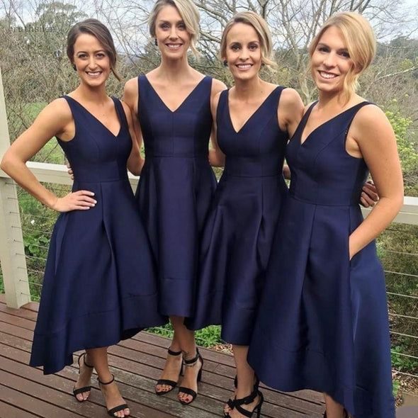 Nave Blue Bridesmaid Dresses High Low Deep V Neck