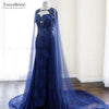 Blue Tulle Wedding Cape Gorgeous Beaded Pearls Lace Elegant Women Formal shawl Long Jacket DJ010