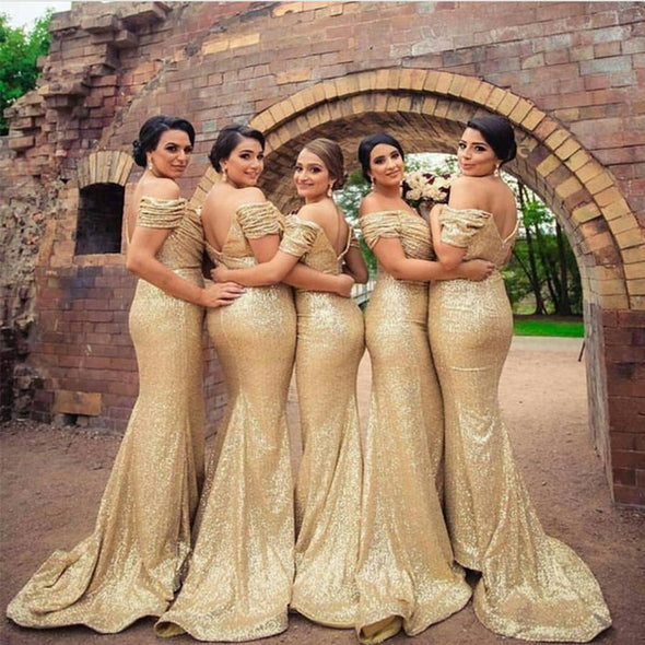 Mermaid Gold Bridesmaid Dresses Off The Shoulder