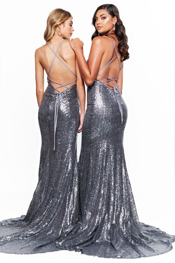 Sexy Backless Sequined Silver Bridesmaid Dresses Long