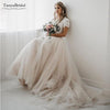 Light Champagne Tulle Skirts Wedding Dresses Bohemian Dreamy Elegant Vintage Bridal Gowns Vestido De Noiva DW027