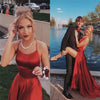 Halter Neck Prom Dresses 2020 Sexy Backless Front Split Satin A-line Prom Party Dress