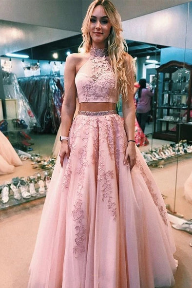Halter Two Piece Pink Tulle Prom Dress With Beaded Appliques TB1358