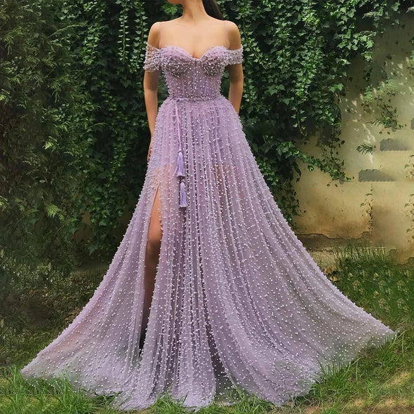 Handmade Heavy Pearls Sweetheart A-line Lilac Prom Dresses High Slit Women Formal Evening Gowns robes de soirée