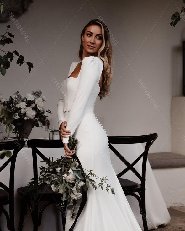 Soft Satin Elegant Long Sleeve Bridal Gowns Simple Engagement Wedding Noivas ZW407