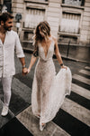 Deep V-Neck Luxury Sexy Backless Boho Wedding Dresses Vestido De noivas ZW390