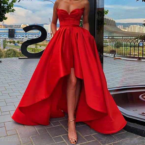 High-low Plus Size Satin Red Prom Party Evening Dresses With Pocket