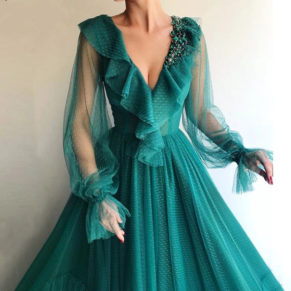 Teal Full Sleeves Evening Dresses Long TBE929927