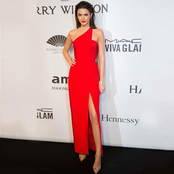 One Shoulder Red Long Straight Women Celebrity Evening Dress