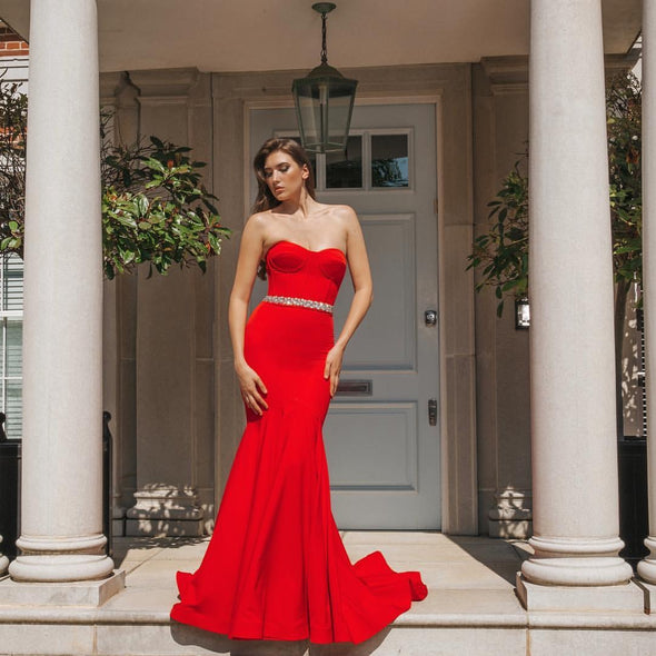 Sweetheart Red Long Formal Evening Dresses