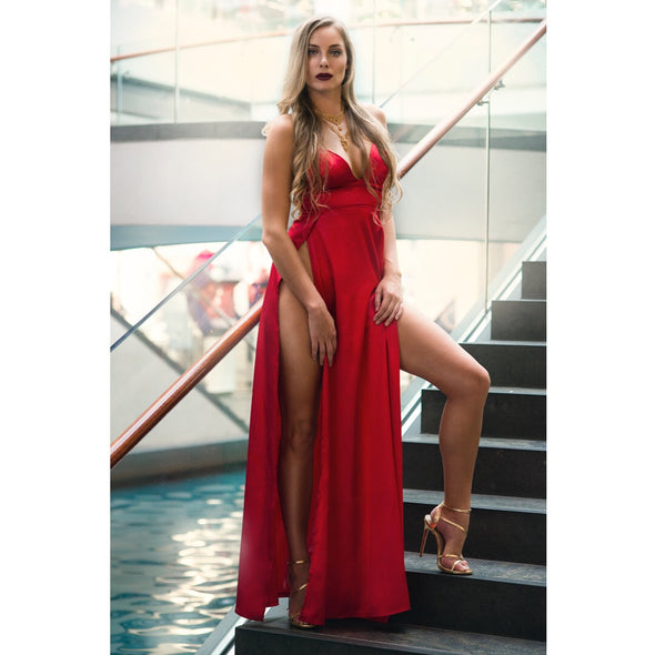 Silk Red Long Prom Dresses High Slit Sexy Lady Dress