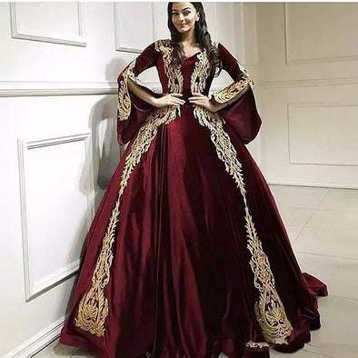 Arabic Burgundy Evening Dresses Slit Long Sleeves Robe Soiree Dubai Prom Gowns TBP01