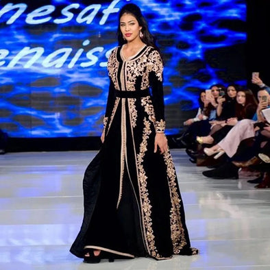 Black Velvet Moroccan Kaftan Evening Dresses Long Golden Appliques Saudi Arabic Muslim Special Occasion Dress TBE07