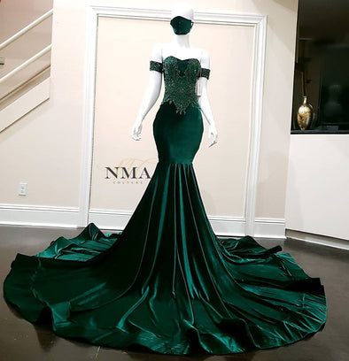 Mermaid Green Luxury Evening Dresses 2021