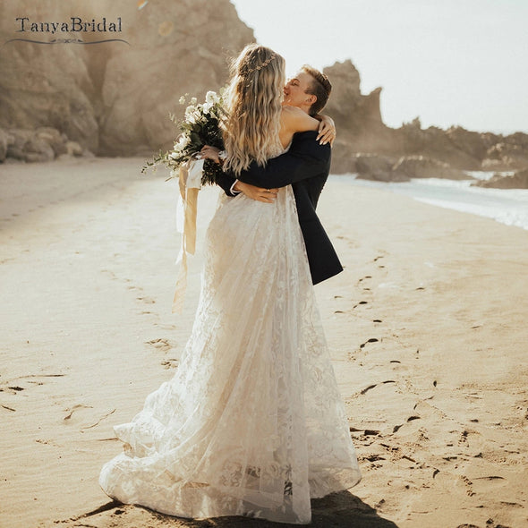 Lace A Line Boho Wedding Dresses Bohemian Lovely Fashion Bridal Gowns